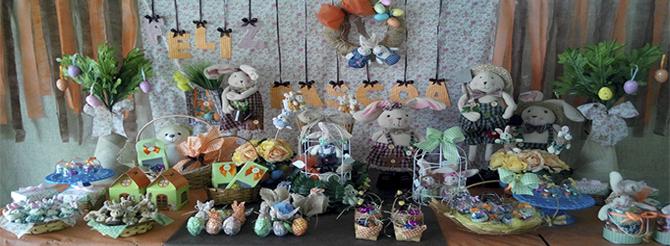 Mesa decorada de Pascoa
